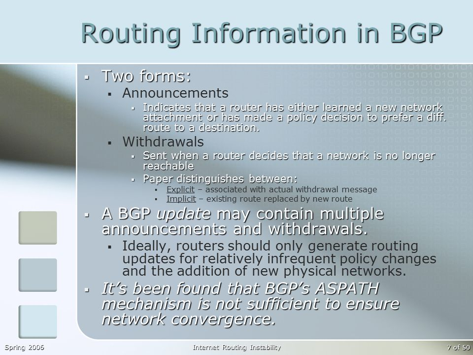 Spring 2006Internet Routing Instability 7 of 50 Routing Information in BGP  Two forms:  Announcements  Indicates that a router has either learned a new network attachment or has made a policy decision to prefer a diff.