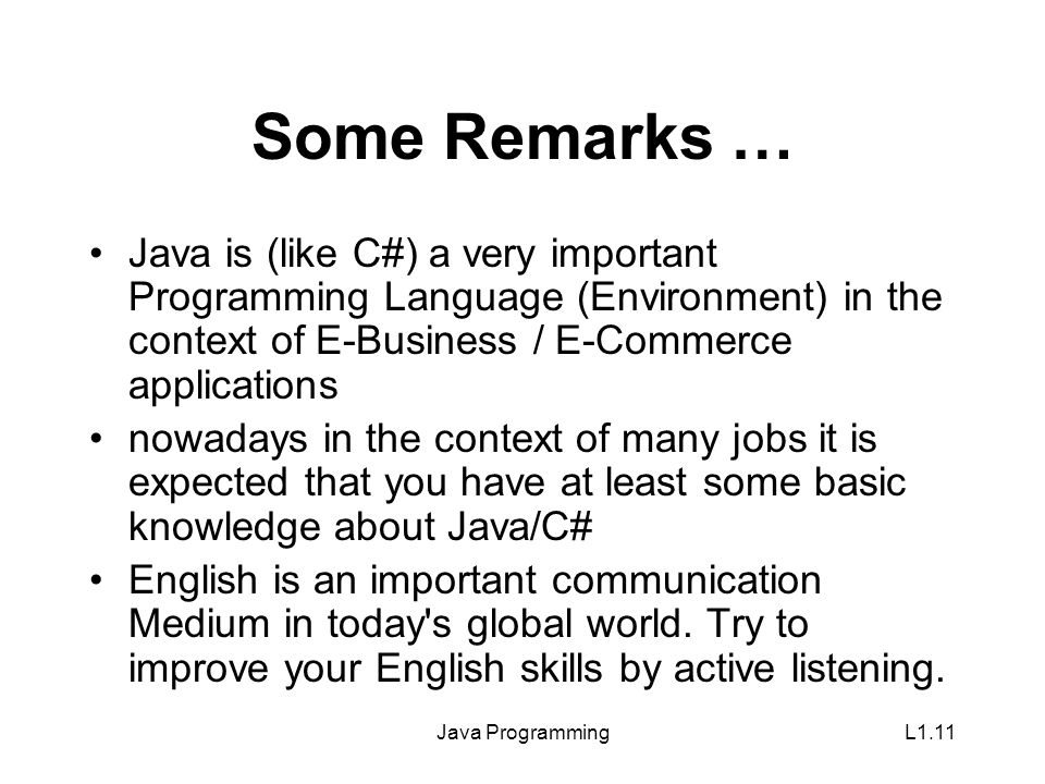 Java ProgrammingL1.11 Some Remarks … Java is (like C#) a very important Programming Language (Environment) in the context of E-Business / E-Commerce applications nowadays in the context of many jobs it is expected that you have at least some basic knowledge about Java/C# English is an important communication Medium in today s global world.