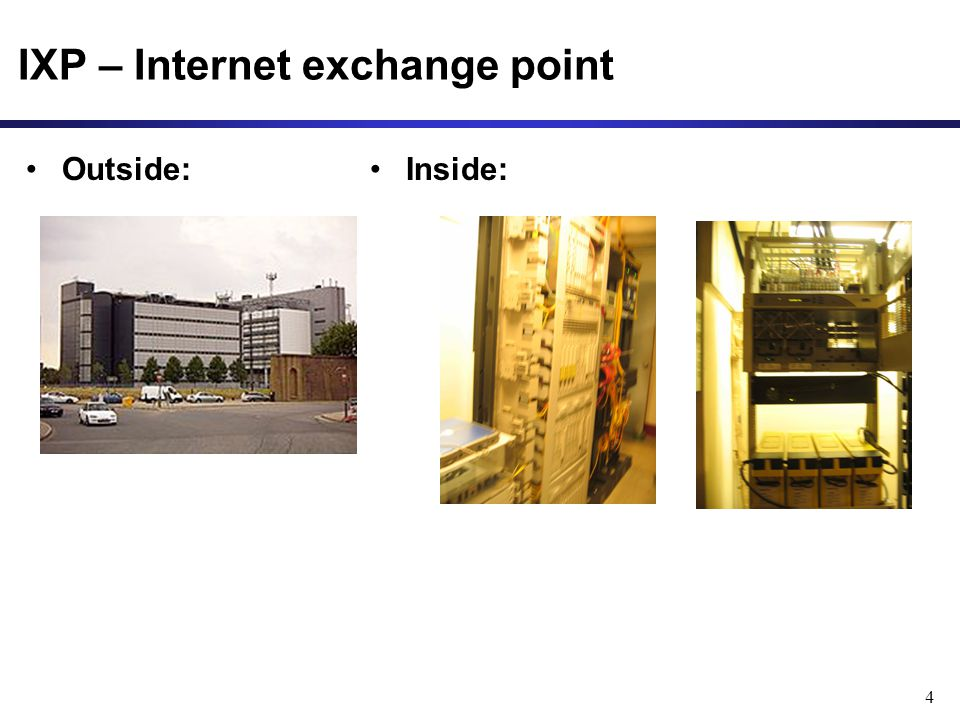 IXP – Internet exchange point Outside: 4 Inside: