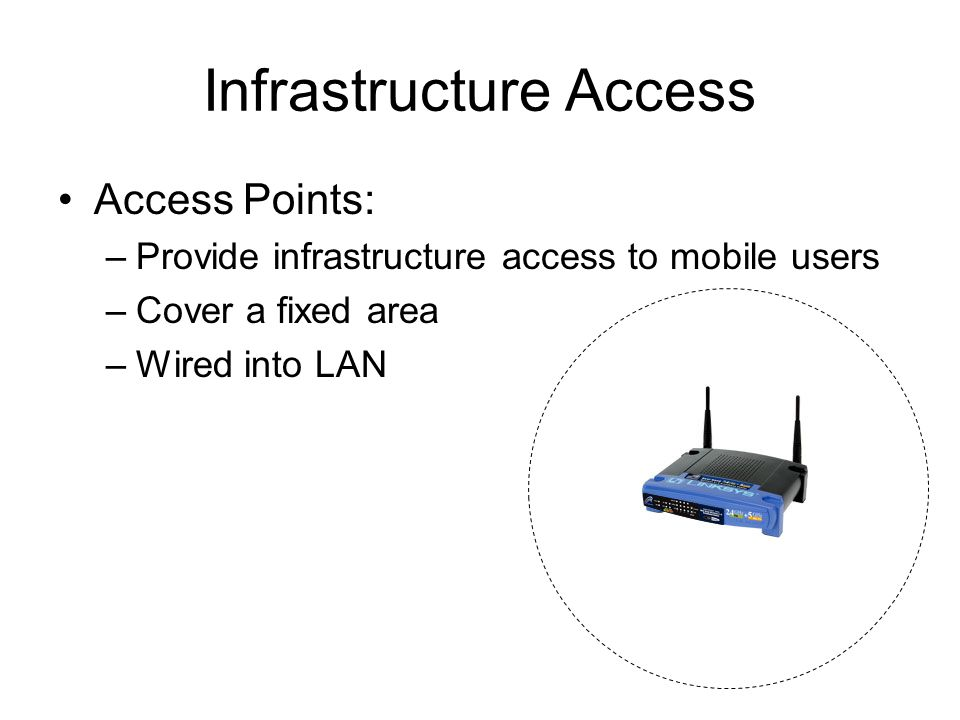 Infrastructure Access Access Points: –Provide infrastructure access to mobile users –Cover a fixed area –Wired into LAN