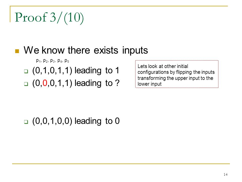 14 Proof 3/(10) We know there exists inputs p 1, p 2, p 3, p 4, p 5  (0,1,0,1,1) leading to 1  (0,0,0,1,1) leading to ?  (0,0,1,0,0) leading to 0 L