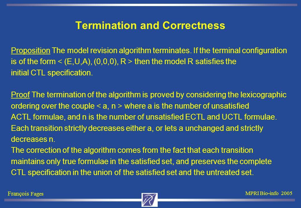 François Fages MPRI Bio-info 2005 Termination and Correctness Proposition The model revision algorithm terminates.