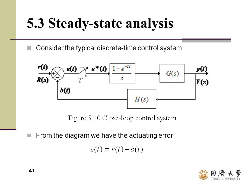 41 5.3 Steady-state analysis Consider the typical discrete-time control system From the diagram we have the actuating error