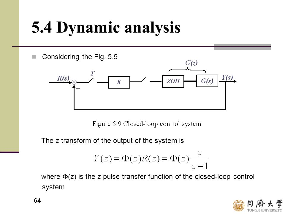 64 5.4 Dynamic analysis Considering the Fig. 5.9 The z transform of the output of the system is where  (z) is the z pulse transfer function of the cl