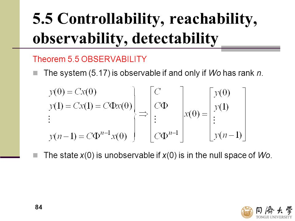 84 5.5 Controllability, reachability, observability, detectability Theorem 5.5 OBSERVABILITY The system (5.17) is observable if and only if Wo has ran