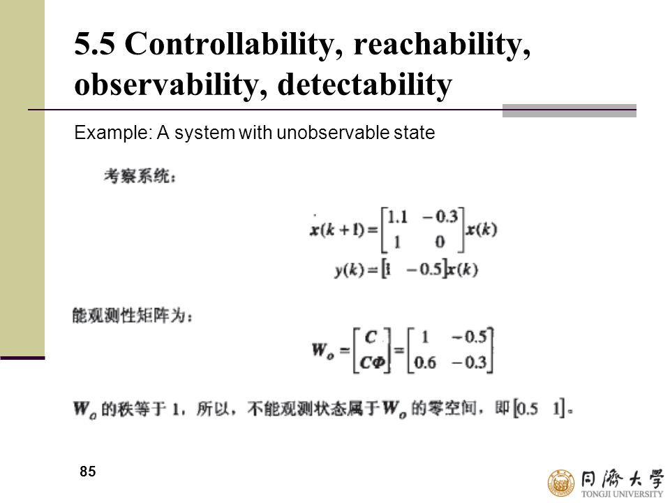 85 5.5 Controllability, reachability, observability, detectability Example: A system with unobservable state