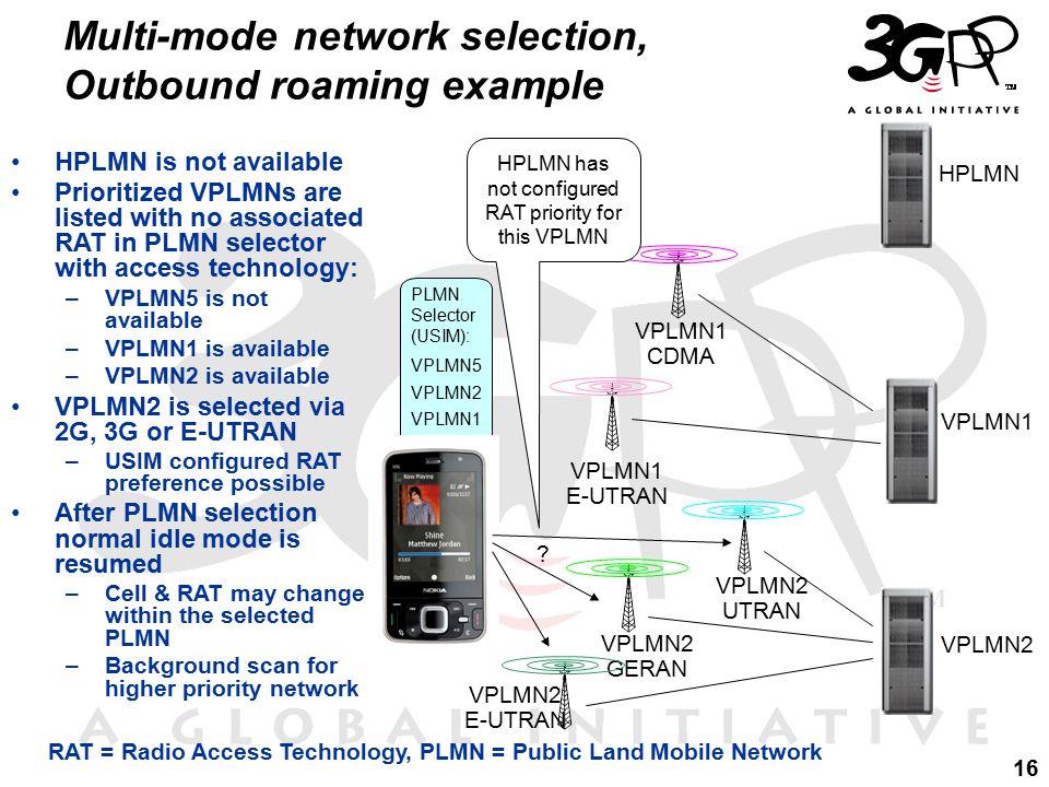 16 PLMN Selector (USIM): VPLMN5 VPLMN2 VPLMN1 Multi-mode network selection, Outbound roaming example HPLMN VPLMN1 VPLMN2 VPLMN1 CDMA VPLMN2 GERAN VPLMN1 E-UTRAN .