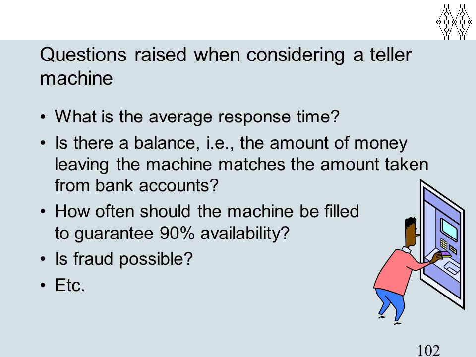 102 Questions raised when considering a teller machine What is the average response time? Is there a balance, i.e., the amount of money leaving the ma