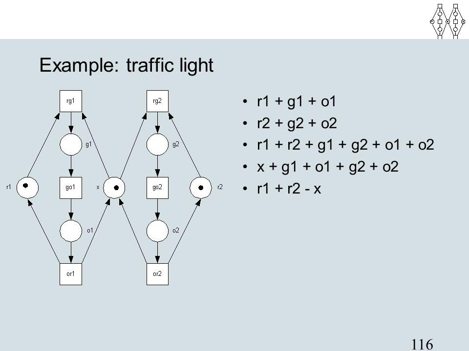 116 Example: traffic light r1 + g1 + o1 r2 + g2 + o2 r1 + r2 + g1 + g2 + o1 + o2 x + g1 + o1 + g2 + o2 r1 + r2 - x