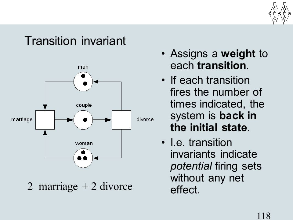 118 Transition invariant Assigns a weight to each transition. If each transition fires the number of times indicated, the system is back in the initia
