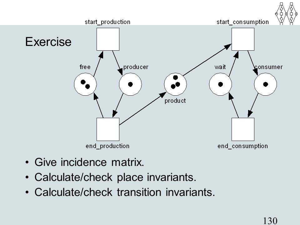 130 Exercise Give incidence matrix. Calculate/check place invariants. Calculate/check transition invariants.