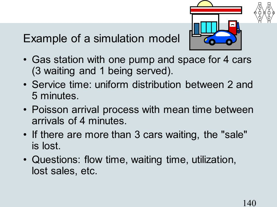140 Example of a simulation model Gas station with one pump and space for 4 cars (3 waiting and 1 being served). Service time: uniform distribution be
