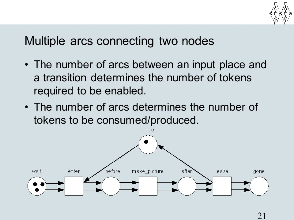 21 Multiple arcs connecting two nodes The number of arcs between an input place and a transition determines the number of tokens required to be enable