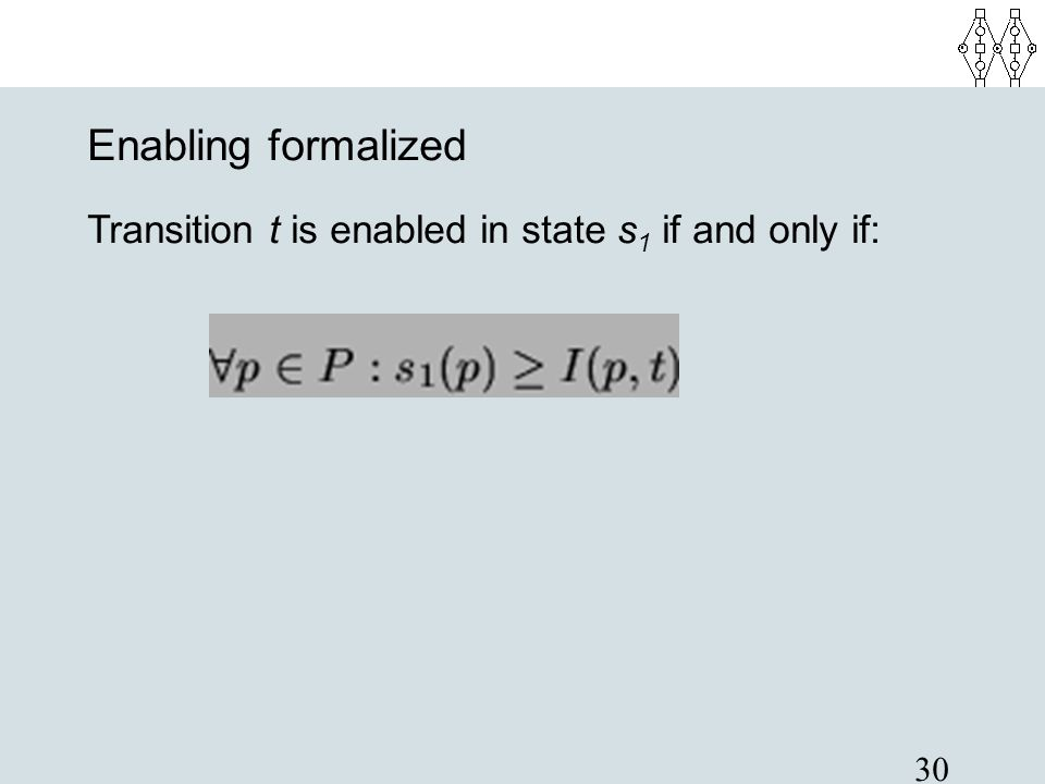 30 Enabling formalized Transition t is enabled in state s 1 if and only if: