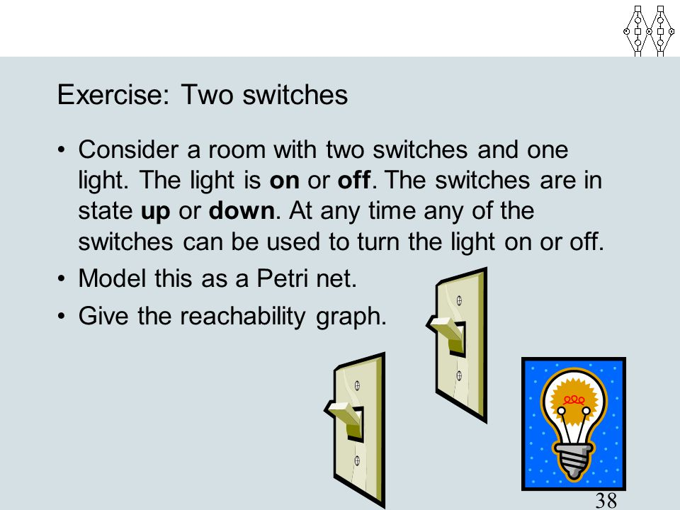 38 Exercise: Two switches Consider a room with two switches and one light. The light is on or off. The switches are in state up or down. At any time a