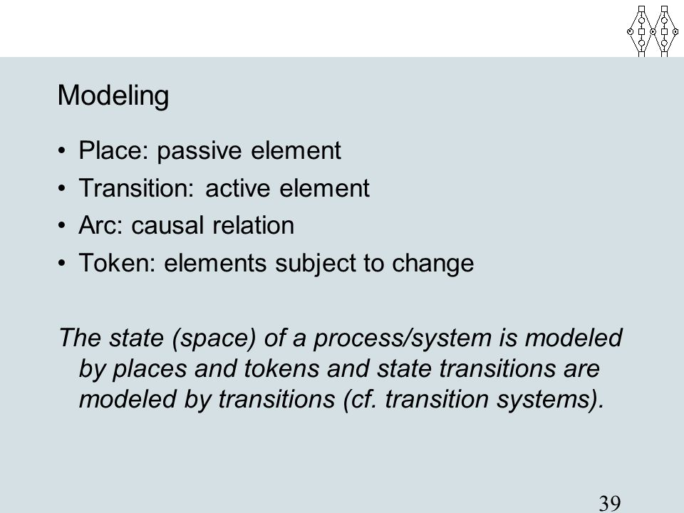 39 Modeling Place: passive element Transition: active element Arc: causal relation Token: elements subject to change The state (space) of a process/sy