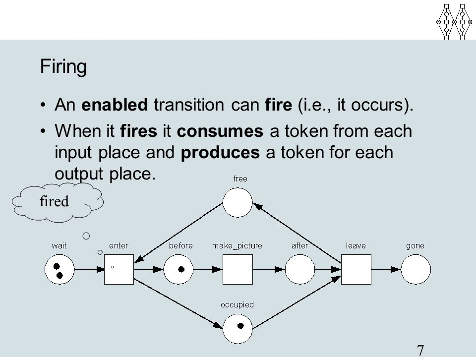 7 Firing An enabled transition can fire (i.e., it occurs). When it fires it consumes a token from each input place and produces a token for each outpu