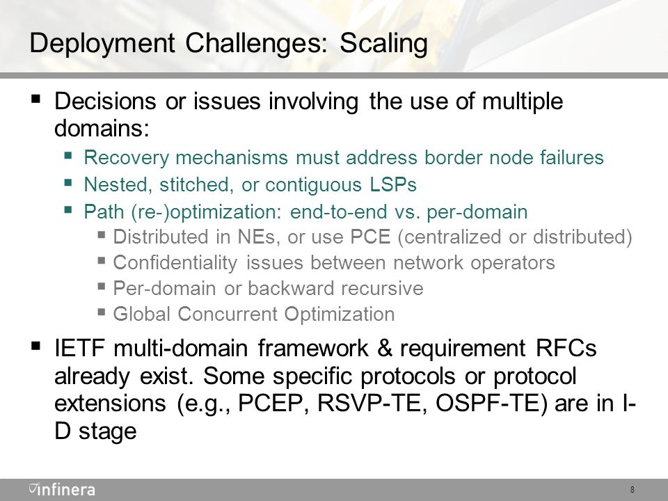 9 DTN GMPLS-Based Recovery Support  End-to-end recovery: the originating DTN detects a datapath fault, tears down the LSP, and re-establishes a new one avoiding the fault  Initial DTN releases & deployments: this is used primarily on transport paths that are already protected (to tight Availability SLA quality) at higher layers such as IP/MPLS or SONET/SDH  For operator convenience, to avoid manually establishing a new path  For resiliency to multiple faults  More work is needed to achieve tight (e.g., 50 ms) Availability SLAs