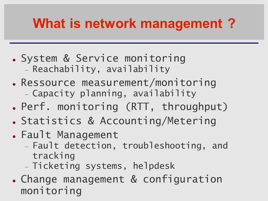 What is network management .