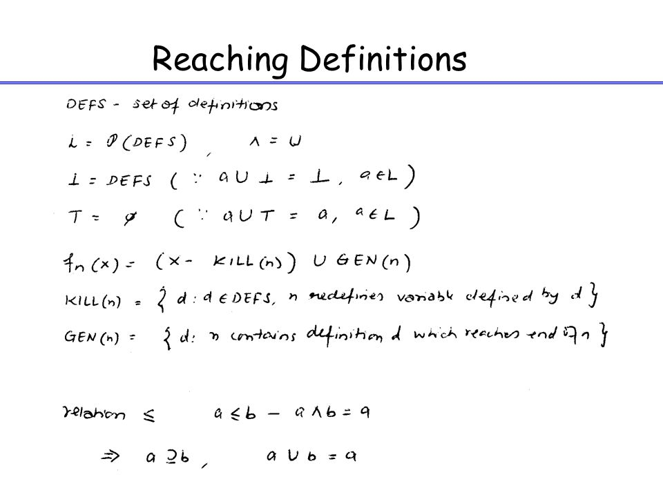 13 Reaching Definitions