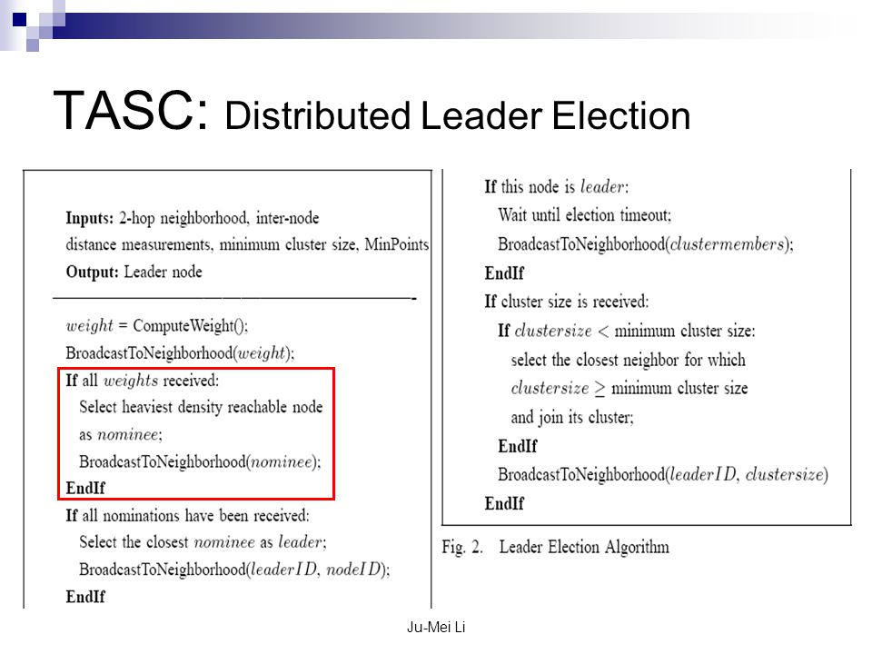 Ju-Mei Li TASC: Distributed Leader Election