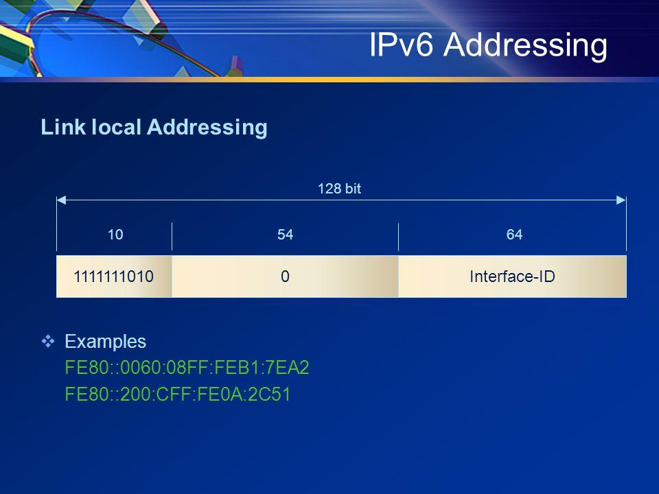 IPv6 Addressing Link local Addressing  Examples FE80::0060:08FF:FEB1:7EA2 FE80::200:CFF:FE0A:2C51 Interface-ID11111110100 105464 128 bit