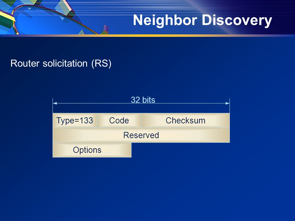 Neighbor Discovery Router solicitation (RS) Type=133CodeChecksum Reserved 32 bits Options....