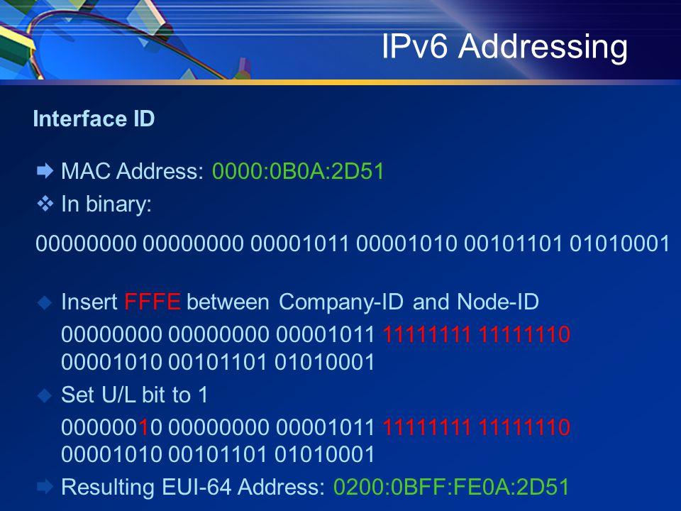 IPv6 Addressing  MAC Address: 0000:0B0A:2D51  In binary: 00000000 00000000 00001011 00001010 00101101 01010001  Insert FFFE between Company-ID and Node-ID 00000000 00000000 00001011 11111111 11111110 00001010 00101101 01010001  Set U/L bit to 1 00000010 00000000 00001011 11111111 11111110 00001010 00101101 01010001  Resulting EUI-64 Address: 0200:0BFF:FE0A:2D51 Interface ID