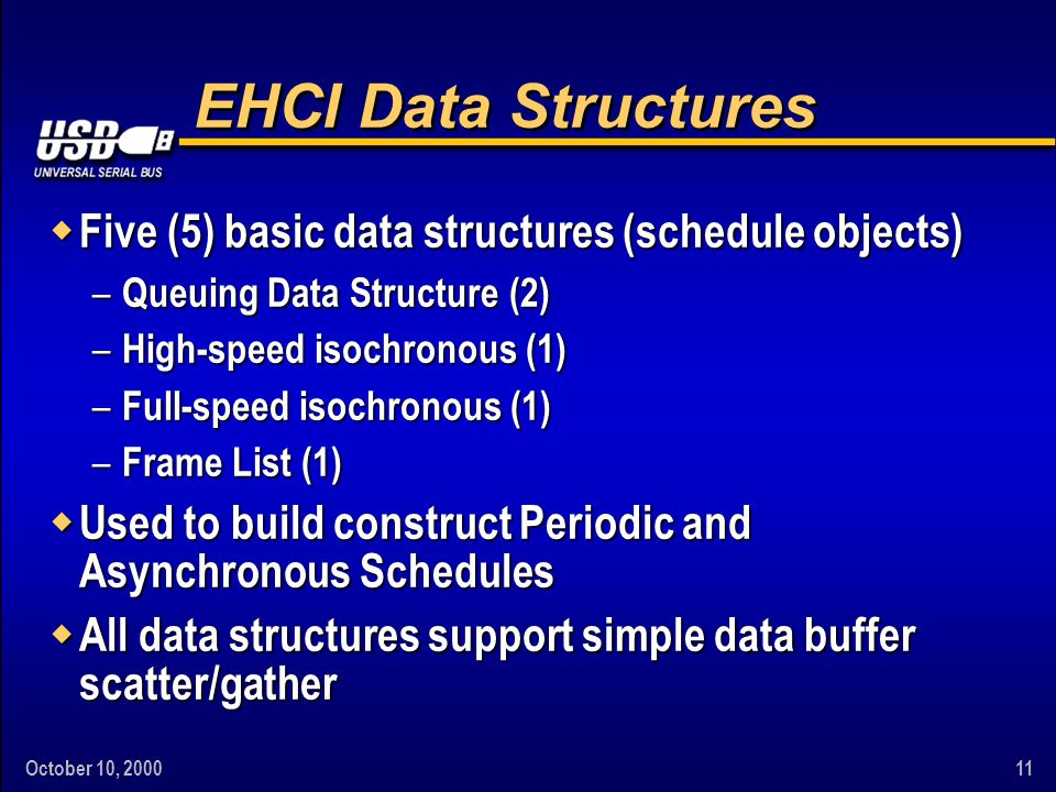 October 10, 200011 EHCI Data Structures w Five (5) basic data structures (schedule objects) – Queuing Data Structure (2) – High-speed isochronous (1) – Full-speed isochronous (1) – Frame List (1) w Used to build construct Periodic and Asynchronous Schedules w All data structures support simple data buffer scatter/gather