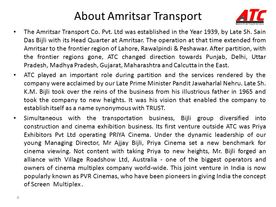 4 About Amritsar Transport The Amritsar Transport Co.