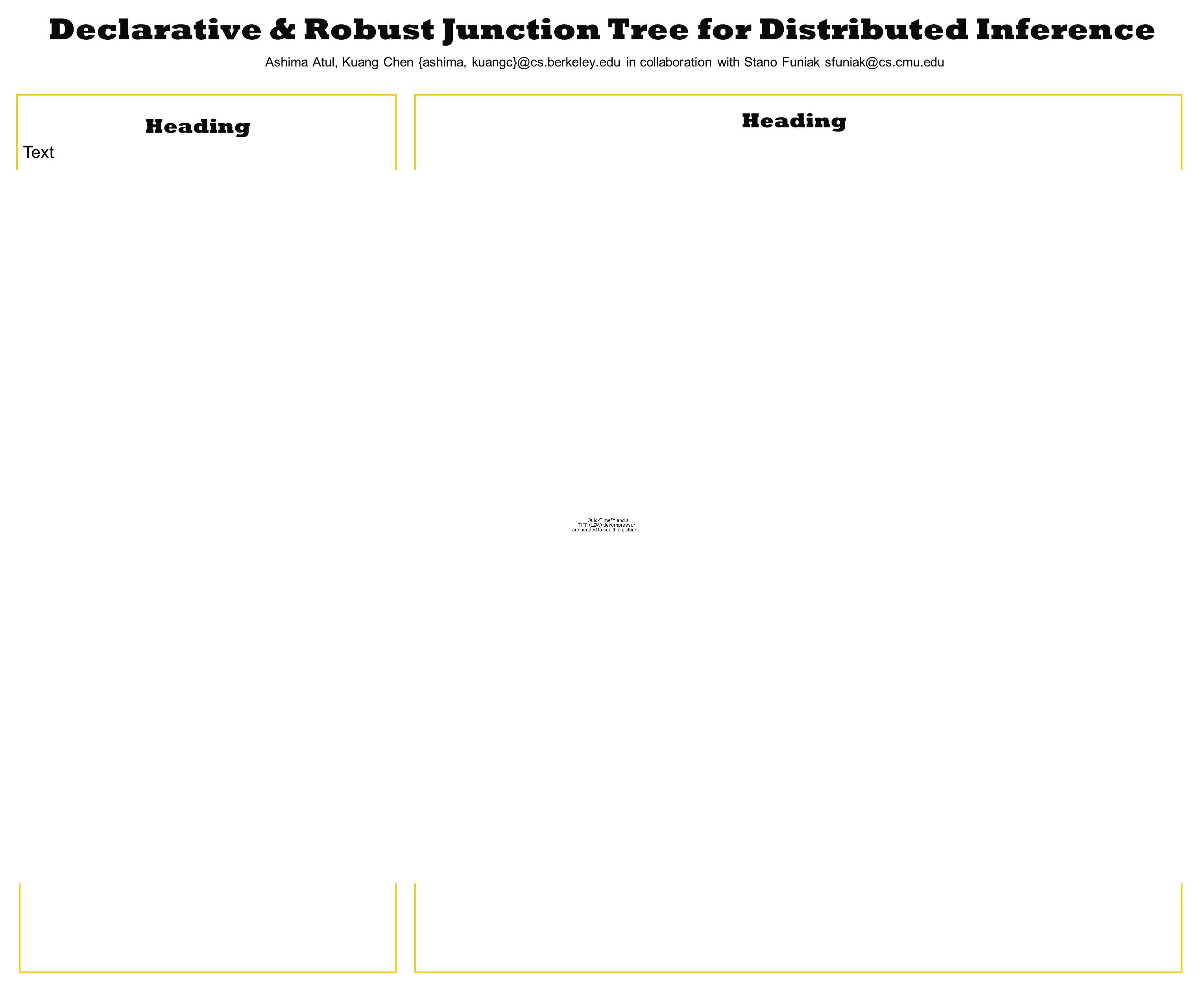 Heading Text Declarative & Robust Junction Tree for Distributed Inference Ashima Atul, Kuang Chen {ashima, kuangc}@cs.berkeley.edu in collaboration with Stano Funiak sfuniak@cs.cmu.edu Heading Result