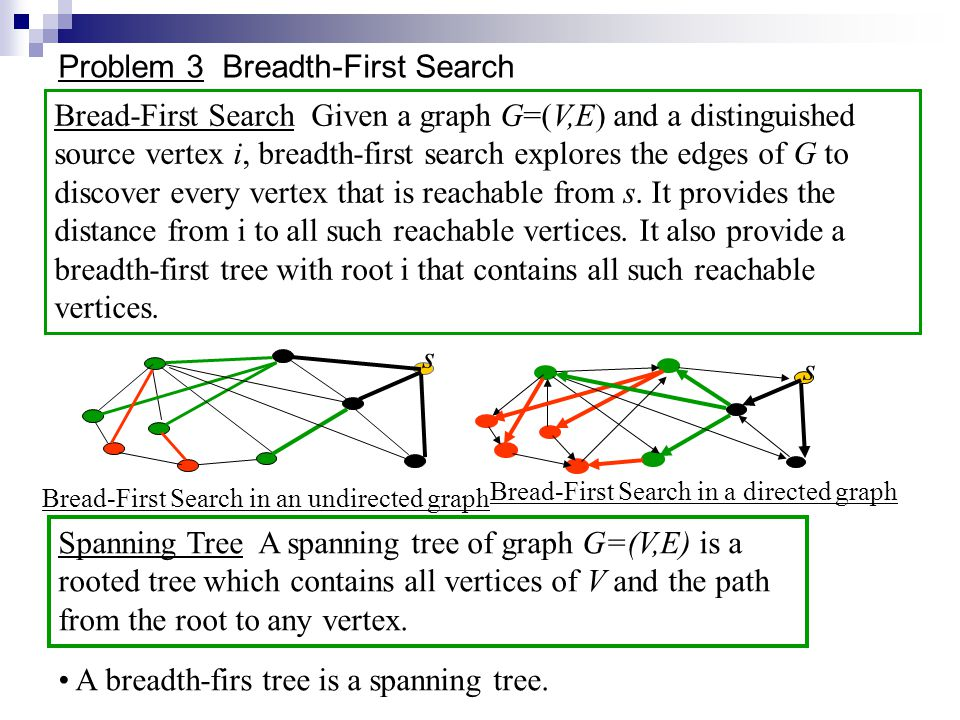Problem 3 Breadth-First Search Bread-First Search Given a graph G=(V,E) and a distinguished source vertex i, breadth-first search explores the edges of G to discover every vertex that is reachable from s.