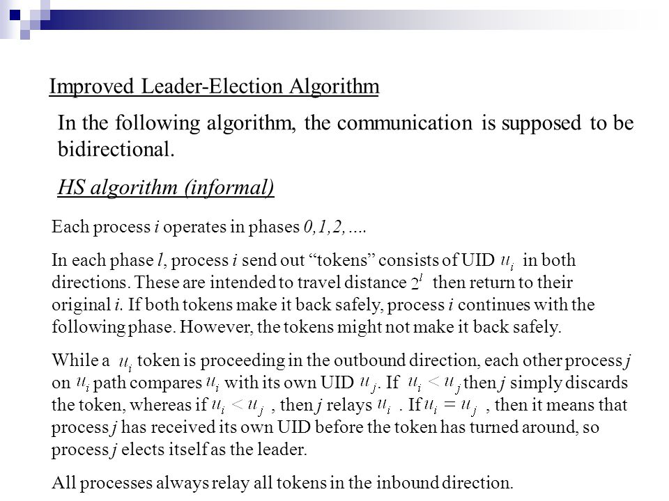 Improved Leader-Election Algorithm HS algorithm (informal) In the following algorithm, the communication is supposed to be bidirectional.