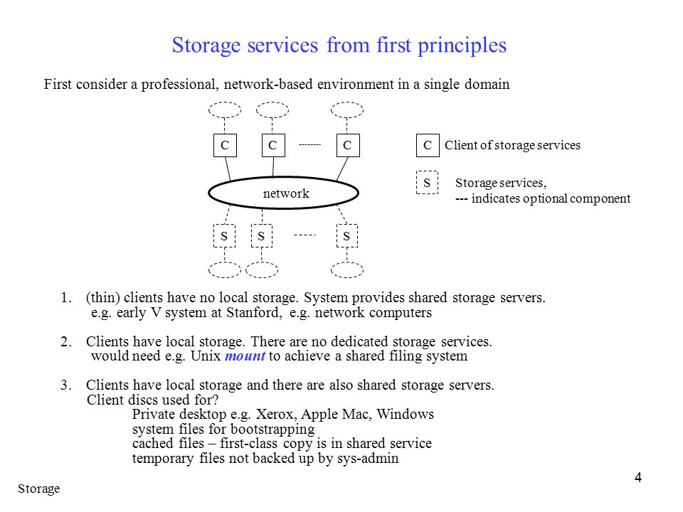 4 Storage services from first principles First consider a professional, network-based environment in a single domain network CCC SSS C Client of storage services S Storage services, --- indicates optional component 1.(thin) clients have no local storage.