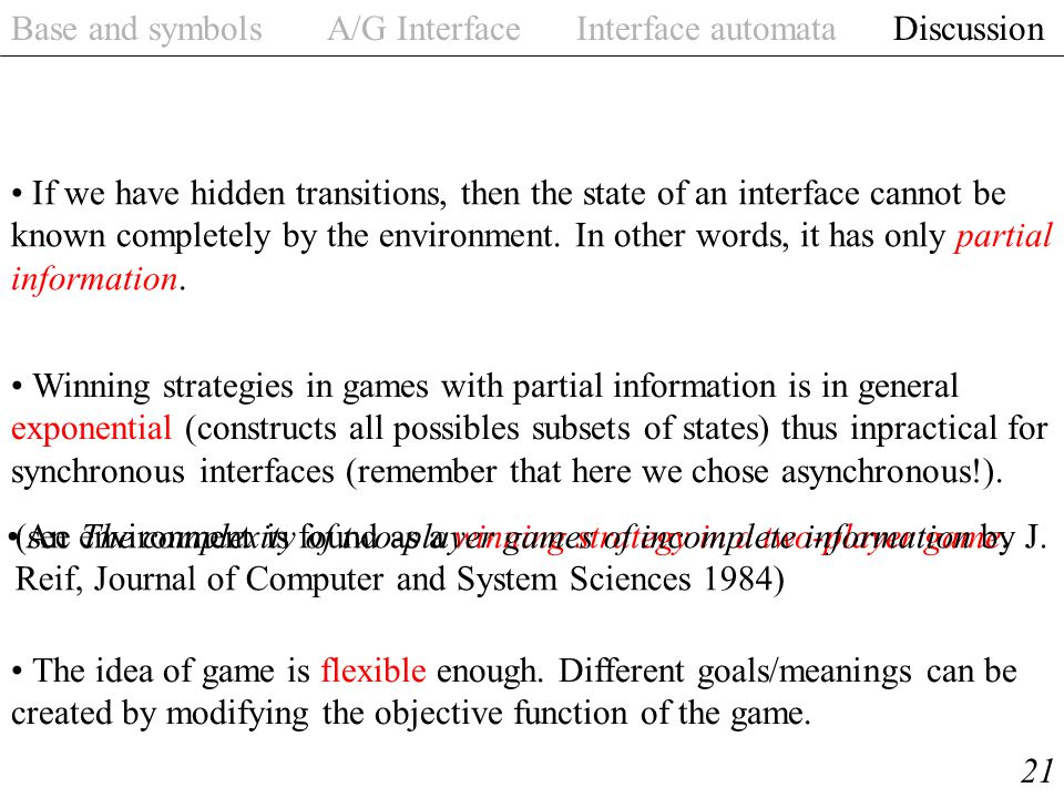 Base and symbols A/G Interface Interface automata Discussion 21 An environment is found as a winning strategy in a two-player game.