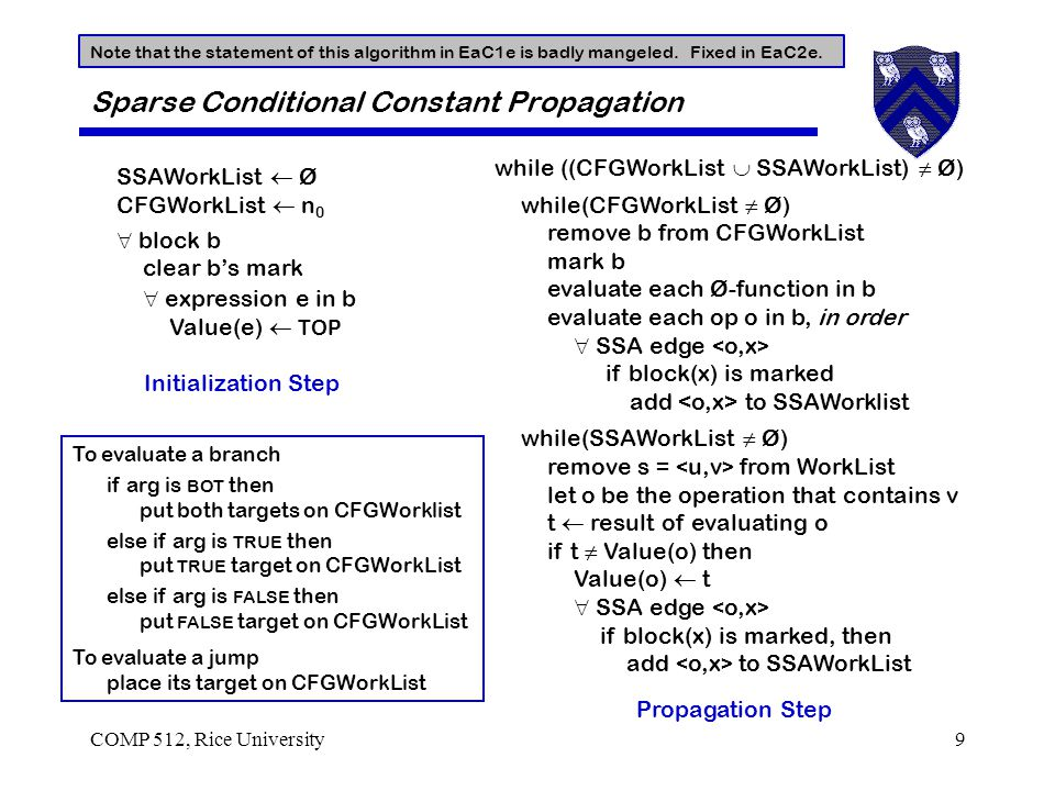 COMP 512, Rice University9 Sparse Conditional Constant Propagation SSAWorkList  Ø CFGWorkList  n 0  block b clear b's mark  expression e in b Value(e)  TOP Initialization Step To evaluate a branch if arg is BOT then put both targets on CFGWorklist else if arg is TRUE then put TRUE target on CFGWorkList else if arg is FALSE then put FALSE target on CFGWorkList To evaluate a jump place its target on CFGWorkList while ((CFGWorkList  SSAWorkList) ≠ Ø) while(CFGWorkList ≠ Ø) remove b from CFGWorkList mark b evaluate each Ø-function in b evaluate each op o in b, in order  SSA edge if block(x) is marked add to SSAWorklist while(SSAWorkList ≠ Ø) remove s = from WorkList let o be the operation that contains v t  result of evaluating o if t ≠ Value(o) then Value(o)  t  SSA edge if block(x) is marked, then add to SSAWorkList Propagation Step Note that the statement of this algorithm in EaC1e is badly mangeled.