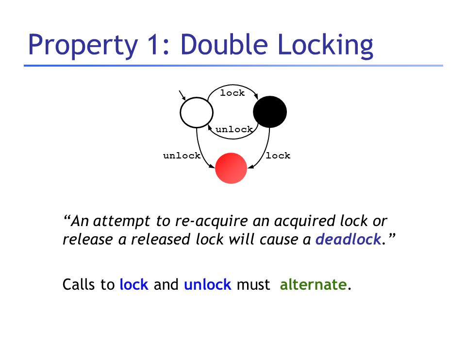 "Property 1: Double Locking ""An attempt to re-acquire an acquired lock or release a released lock will cause a deadlock."" Calls to lock and unlock must"