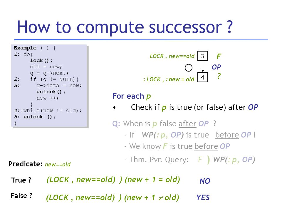How to compute successor ? Example ( ) { 1: do{ lock(); old = new; q = q->next; 2: if (q != NULL){ 3: q->data = new; unlock(); new ++; } 4:}while(new