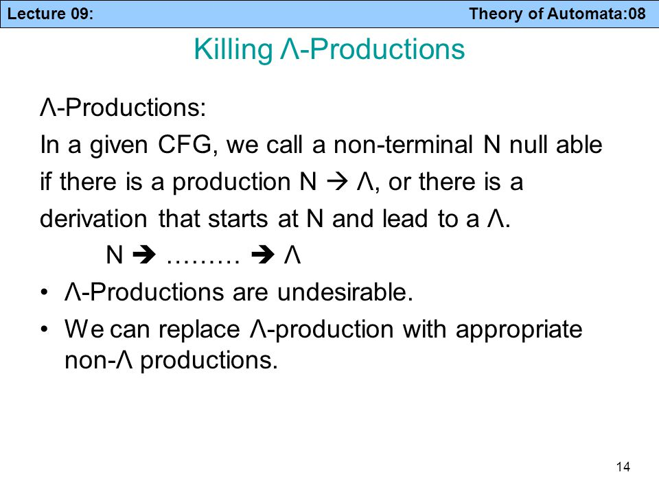 Lecture 09: Theory of Automata:08 14 Killing Λ-Productions Λ-Productions: In a given CFG, we call a non-terminal N null able if there is a production