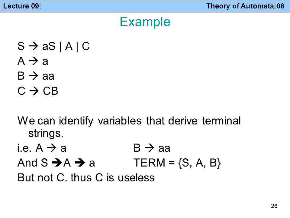 Lecture 09: Theory of Automata:08 26 Example S  aS | A | C A  a B  aa C  CB We can identify variables that derive terminal strings. i.e. A  a B 