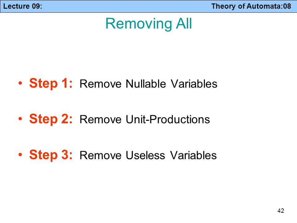 Lecture 09: Theory of Automata:08 42 Removing All Step 1: Remove Nullable Variables Step 2: Remove Unit-Productions Step 3: Remove Useless Variables