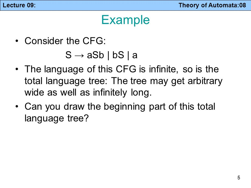 Lecture 09: Theory of Automata:08 5 Example Consider the CFG: S → aSb | bS | a The language of this CFG is infinite, so is the total language tree: Th
