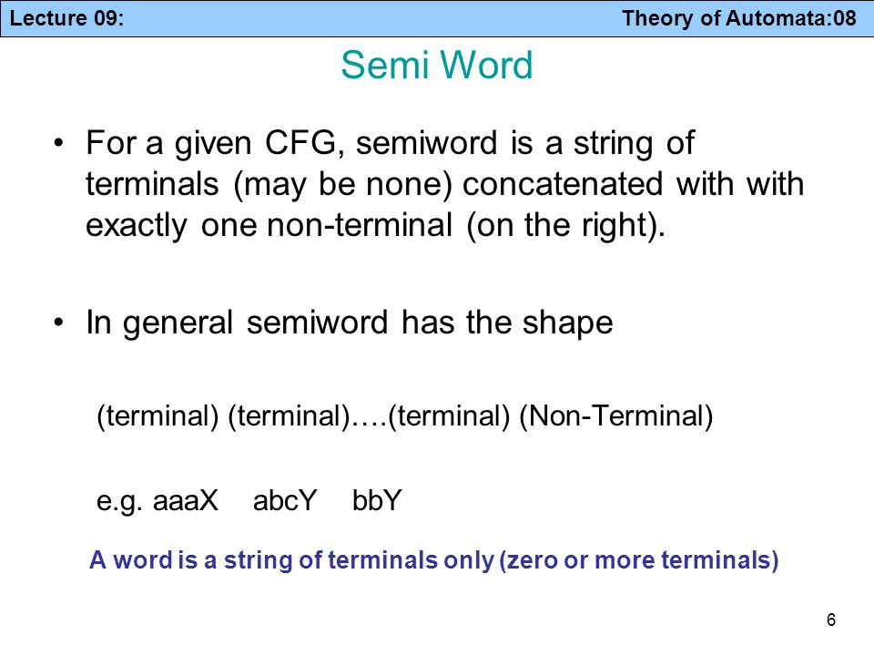 Lecture 09: Theory of Automata:08 27 Example PART - II Rename the grammar GT = S  aS | A A  a B  aa Now draw a graph and delete nodes not reachable from S.