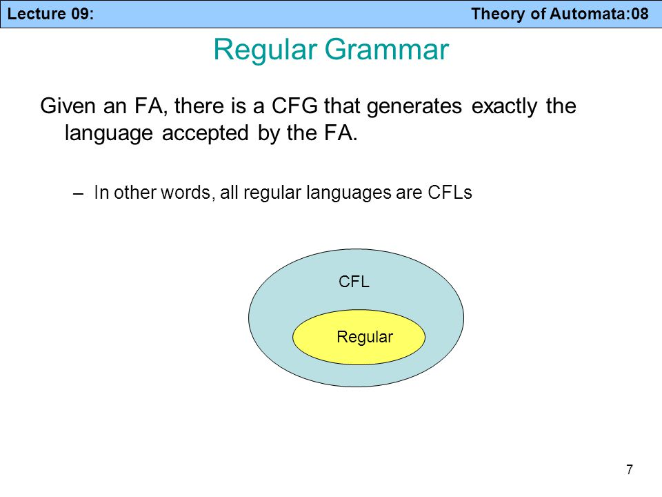Lecture 09: Theory of Automata:08 7 Regular Grammar Given an FA, there is a CFG that generates exactly the language accepted by the FA. –In other word