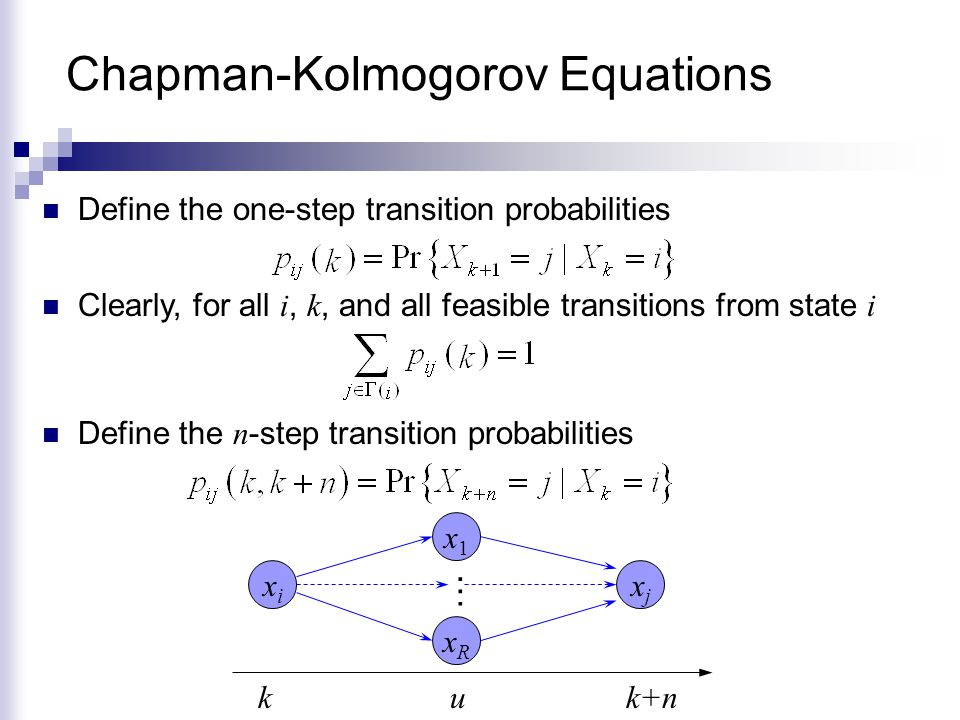 Steady State Analysis Recall that the probability of finding the MC at state i after the k th step is given by An interesting question is what happens in the long run , i.e., Questions:  Do these limits exists.