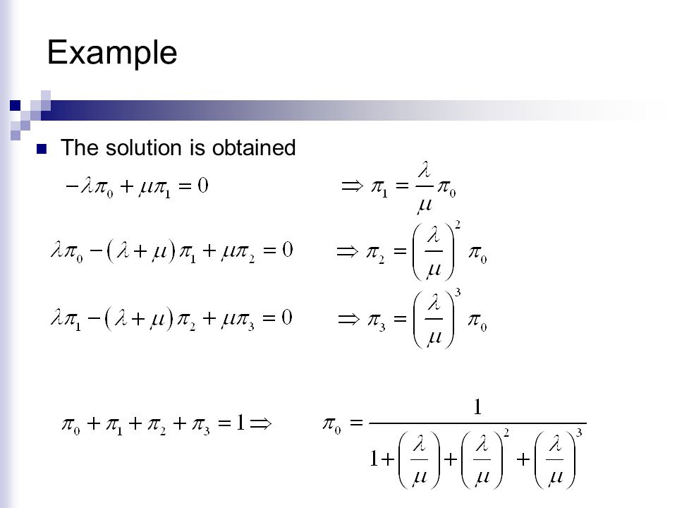 Example The solution is obtained