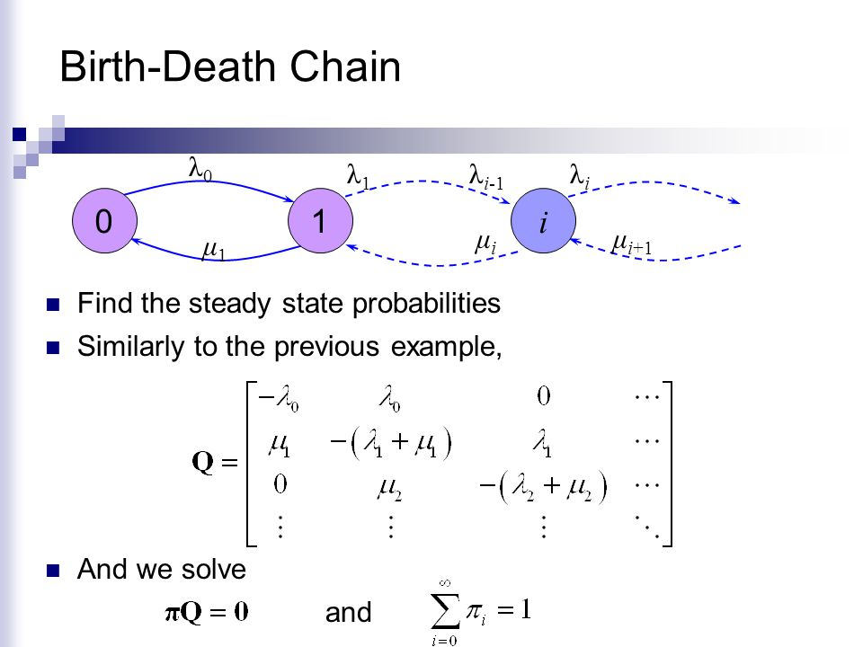 Birth-Death Chain Find the steady state probabilities Similarly to the previous example, λ0λ0 01 i λ1λ1 λi-1λi-1 λiλi μ1μ1 μiμi μ i+1 And we solve and