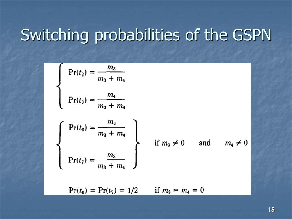 15 Switching probabilities of the GSPN