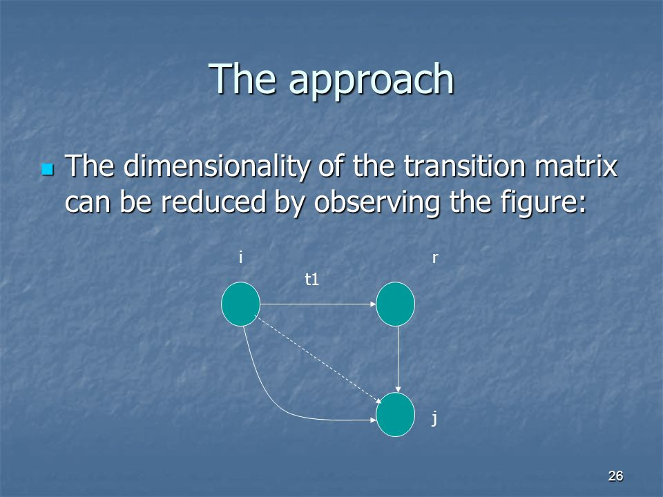 26 The approach The dimensionality of the transition matrix can be reduced by observing the figure: The dimensionality of the transition matrix can be reduced by observing the figure: t1 ir j