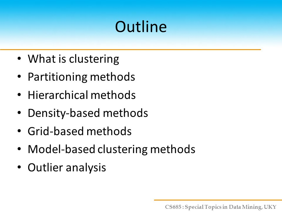 CS685 : Special Topics in Data Mining, UKY Problems of DBSCAN Different clusters may have very different densities Clusters may be in hierarchies